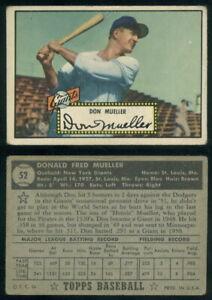 (69411) 1952 Topps 52 Don Mueller Black Back Giants-FR
