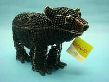 Black Bear Sculpture North American Wildlife Art Glass Bead Wire Beaded Animal