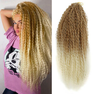 """18"""" Afro Kinky Curly Marley Braids Ombre Crochet Curls Braiding Hair Extensions"""