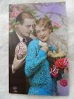 """Carte postale photo romantique 1930 CPA, couple """" pâques poussins """""""