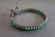 Malachite Brown Leather Anklet, Leather Anklet,Beads Anklet