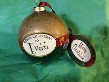 MERRY CHRISTMAS to EVAN Paper Mache Ball Ornament STOCKING STUFFER Teacher