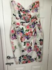Lipsy London Floral Bandeau Dress Size 16 With Optional Straps Strapless Wedding