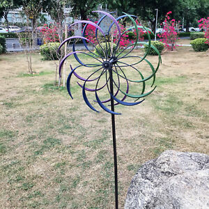 Iron Wind Spinner Kinetic Garden Rustproof Windmill Sculpture Ornament Decor