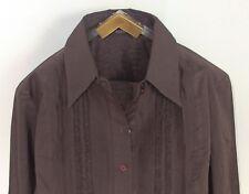 ESPRIT Gr. 42 Rüschen plissiert Umschlagmanschette tailliert Damen Bluse braun