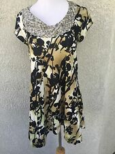 WESTON WEAR ANTHROPOLOGIE Size Medium Blouse Tunic Top Floral Cap Sleeve