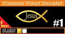 Gold or Chrome Christian Fish Jesus Vinyl Decal Sticker
