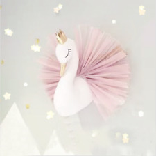 3D Wall Hanging Crown Swan Doll Stuffed Plush Toys Wall Mounted Decor Xmas Gift