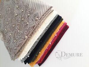 Jersey Lace Hijab Ripple Scarf Elegant High Quality Sarong Shawl Wrap