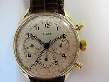GALLET VINTAGE CHRONOGRAPH 37MM 14K GOLD TRI COLOR ORIGINAL DIAL NICE CONDITION