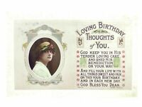 Antique real photograph postcard Birthday Card lady loving thoughts of you