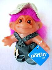 "Thomas Dam Norfin Troll Fisherman Doll with Tag, 1986, Purple Hair, 5"""