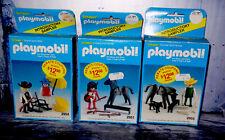 3 Vtg Playmobil Sets Cowboy Horse Indian Sheriff Sealed 2951 2954 2955 RARE