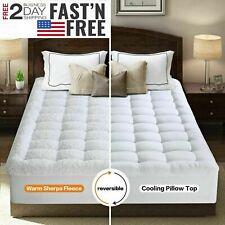 Cooling 400Tc Pillowtop Mattress Topper Warm Plush Sherpa Reversible Pad Cover