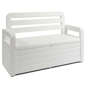 Toomax Foreverspring Deck Patio Garden Storage Box Chest Bench, 70 Gallon White