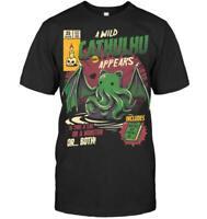 Cat Monster God Cthulhu Mythos Comic Cover Lovecraft Horror Black T-shirt S-6XL
