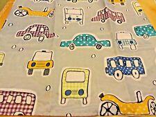 New Lightweight Fabric Shower Curtain whimsical Cars~Buses~Trucks Gray Purple