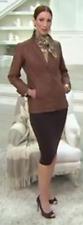 Dennis Basso Faux Leather Blazer with Pockets, Cognac, Size XXS