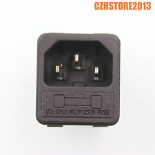 2PCS IEC320 C14 Male Power Cord Inlet Plug Socket With 250V Fuse Holder CCC CE