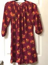 Tucker For Target Magenta Pink Floral Print Long Sleeve Tunic Dress Size XS