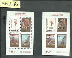 BIS_LIKE:2 blocks Yugoslavia 1991 RED CROSS imperf. NH LOT JL 03-539