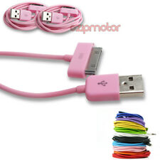 2X 10FT 30-PIN USB SYNC POWER CHARGER PINK CABLE CONNECTOR IPHONE 4S IPOD IPAD