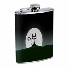 Moon Cat Em1 Flask 8oz Stainless Steel Hip Drinking Whiskey