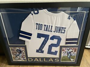 "Cowboys Framed Ed ""Too Tall"" Jones Autographed / Signed Jersey JSA COA"