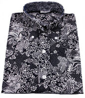 Relco Mens Navy Blue Paisley Floral Flower Print Cotton Shirt Long Sleeve Mod