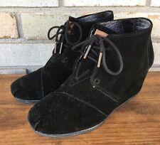 TOMS Black Desert Wedge Leather Suede Lace-Up Ankle Boots Women's Size 7.5