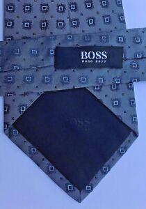 Hugo Boss lovely greyish steel blue all Silk Tie.Made in Italy 🇮🇹