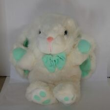 """Vintage 23"""" White Stuffed Bunny with Green Toes, Bow, & Ears"""