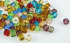 Würfel Kristallperlen Glas Perlen Schmuckperlen quadratisch DIY, 4mm - FK00148