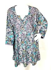 Soft Surrounding Womens XL Purple Green Embroidered Floral Peasant Tunic Top