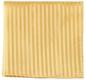 New Men's Polyester Woven pocket square hankie only gold tone on tone stripes
