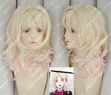 Women Long Blonde Pink Ombre Curly Cosplay DIABOLIK LOVERS Komori ユイYui Full Wig