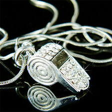 BLING w Swarovski Crystal Cheerleader hot WHISTLE Trainer Charm Pendant Necklace
