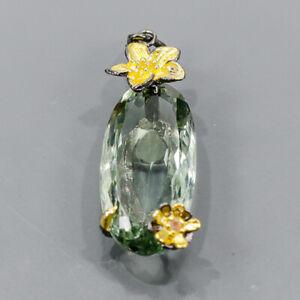 26ct+ Handmade Green Amethyst Pendant Silver 925 Sterling  /NP14923