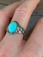 Art Nouveau Turquoise Variscite Stone Solitaire Rose Gold ring