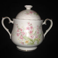 ROYAL ALBERT PARKLAND SUGAR BOWL & LID PINK FLOWERS FOR ALL SEASONS GOLD TRIM