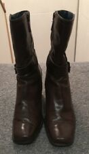 CLARKS Ladies Brown Leather 3/4 Length Boots Size 7
