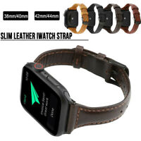 40/44mm Slim Genuine Leather Band Strap for Apple Watch Series 6 5 4 3 iWatch SE
