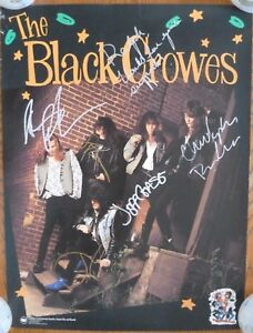 BLACK CROWES Shake Your Money Maker ORIGINAL PROMO POSTER Signed by Band JSA LOA