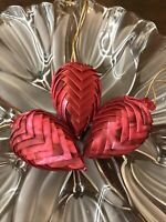 3 Easter Egg Ornament Pinecone Victorian Red Shiny Handmade Fabric Folded