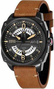 AVI-8 Hawker Hunter Men's Quartz Watch 45 mm Brown Leather Strap AV-4057-04