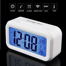 Led Display Table Digital Date Time Temperature Light Control Wall White Clock