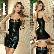 Women Sexy Long Sleeve Leather Casual Evening Party Cocktail Clubwear Mini Dress