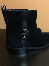 TORY BURCH ELOISE SUEDE SHORT BOOT BLACK SIZE 8 1/2m