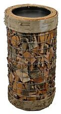"Natural Birch Bark Wood & Wire Pillar Candle Holder Home Decor 4.5"" D x 8"" H NEW"