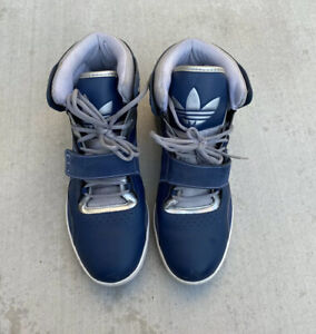Adidas Men's Trefoil High Top Sneakers Navy Silver Shoes Size 13